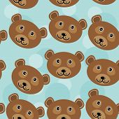 picture of cute animal face  - Bear Seamless pattern with funny cute animal face on a blue background - JPG