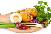 chicken fillet with fresh vegetable salad