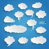 Clouds Set Blue Background