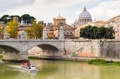 Saint Peter's Basilica And Tiber River. Rome Italy.