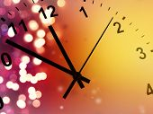 Clock face and abstract background. New Year. Christmas