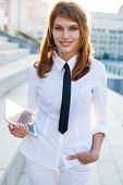 Beautiful woman with headset. Call center. Customer support. Helpdesk.