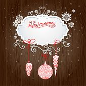 Holiday background with christmas decoration. Vector design with copy space.