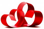 Red hearts of ribbon bow isolated on white background