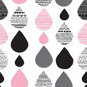 Seamless geometric water drop tribal hand drawn background pattern in vector
