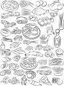 stock photo of food crops  - vector illustration of food collection in black and white - JPG