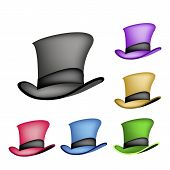 stock photo of top-hat  - An Illustration Collections of Six Colors of Classic Top Hat or Magic Hat Isolated on A White Background - JPG
