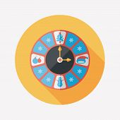 Christmas Style Clock Flat Icon With Long Shadow Eps10