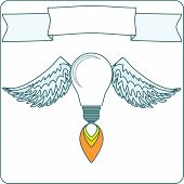 Light Bulb with Wings and Banner