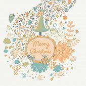 Gentle Merry Christmas card with tree, stars, clouds, gifts and flowers. Vector holiday background. Happy New Year invitation card design