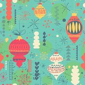 Beautiful vintage Christmas and New Year seamless pattern in vector. Seamless pattern can be used for wallpapers, pattern fills, web page backgrounds, surface textures.