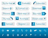 Light Web Buttons With Blue Bookmarks And Icons