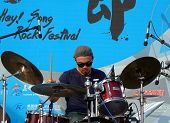 Drummer Performs At Rock Festival