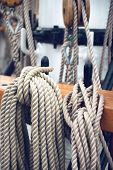 Close Up of Historical Ship Ropes and Rigging of Tall Ship