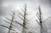 The three wooden masts and rigging of Sailing Boat or Clipper