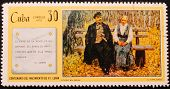 Cuba-circa 1970 :postage Stamp Printed In The Cuba Shows  Painting  A. Varlamov Lenin In Gorki.