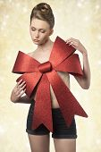 Woman With Big Christmas Bow