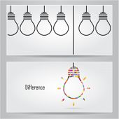 Creative Light Bulb Idea Concept Banner Background. Differen Banner Ceconcept