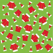 Santa claus clothes a green background.