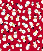 Different snowman on a red background.  Seamless pattern.