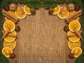 A rustic ooden background with Christmas decorations