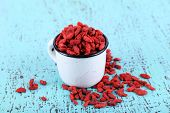 Goji berries in white metal mug on old blue wooden background