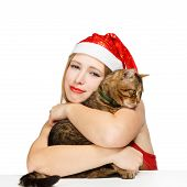 Smiling Santa Woman With Tabby Cat