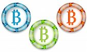 foto of bit coin  - Three frames with color back light and bit coin symbol - JPG