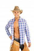 Cowboy Blue Plaid Shirt Open Smile