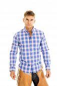 Cowboy Plaid Blue Shirt Serious