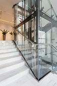 Glass Elevator In Modern Building