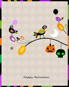 halloween card with crows sitting on a branch