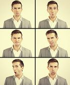 Set of handsome emotional man