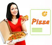 Beautiful girl with delicious pizza in pizza box isolated on white