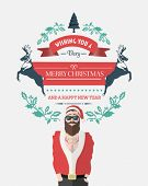 Digitally generated Hipster santa with christmas message