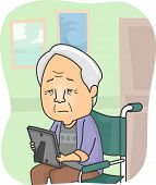 Illustration Featuring a Grandpa in a Nursing Home Looking at a Family Picture