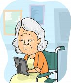 Illustration Featuring a Granny in a Nursing Home Looking at a Family Picture