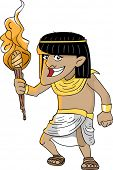 Illustration Featuring an Egyptian Man Holding a Torch