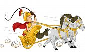 stock photo of charioteer  - Illustration Featuring a Roman Man Driving a Chariot - JPG
