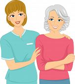 Illustration Featuring a Female Nurse and Her Elderly Patient