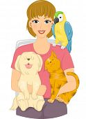Illustration Featuring a Girl Surrounded by Pets