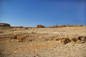 stock photo of zealots  - Ruins of ancient Judean Masada fortress Israel - JPG
