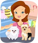 Illustration Featuring a Girl Working in a Shop for Dogs
