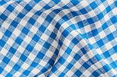 Natural Plaid Fabric Abstract Background Texture, Blue And White Colors