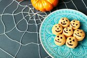 stock photo of spiderwebs  - Tasty Halloween macaroons decorative spiderweb - JPG