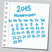 Calendar 2015 november (sketch style)