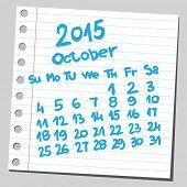 Calendar 2015 october (sketch style)