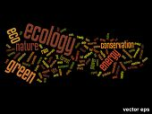 Vector eps concept or conceptual abstract green ecology and conservation word cloud text on black background