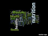 Vector eps concept or conceptual abstract health nutrition word cloud or wordcloud on black background
