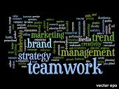 Vector eps concept or conceptual abstract success or teamwork marketing word cloud or wordcloud isolated on black background